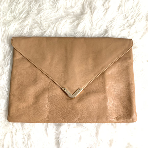 Elaine Turner Taupe Leather Clutch NWT