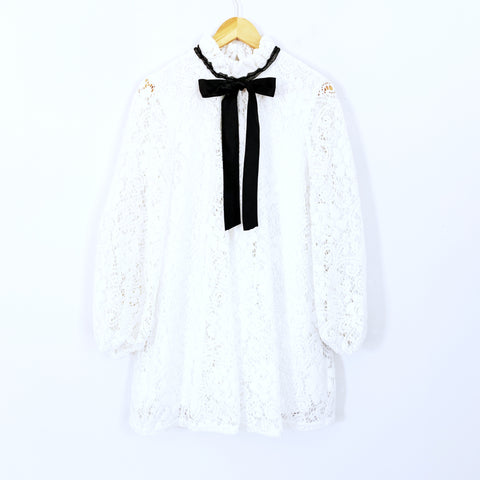 No Brand White Lace Long Sleeve Dress with Black Neck Tie- Size M (see notes)