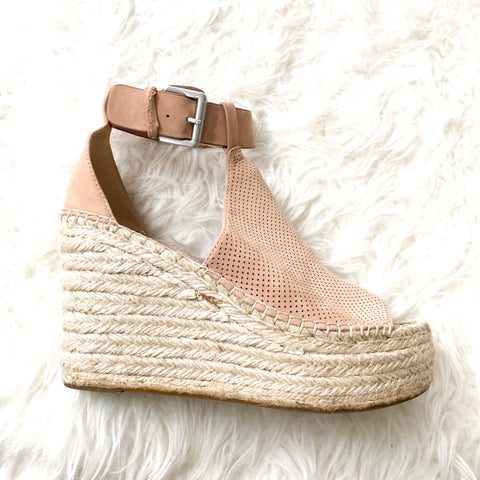 Marc Fisher Annie Suede Perforated Espadrille Wedge- Size 8.5