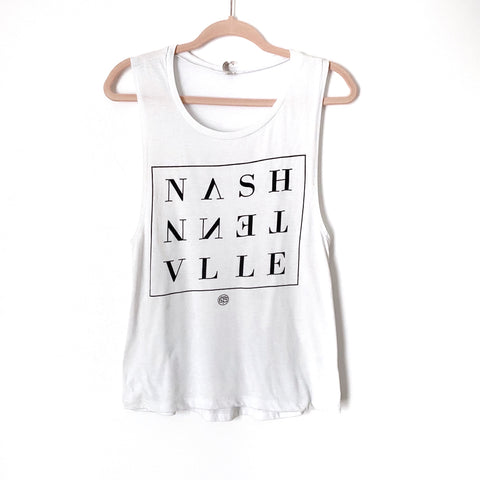 "Bella Canvas White ""Nashville"" Tank- Size S (Jana, see notes)"