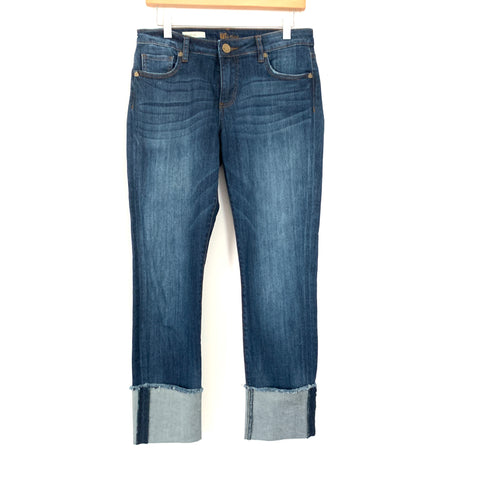 "Kut from the Kloth Dark Wash Straight Leg Cuffed Jeans- Size 4 (Inseam 26.5"")"