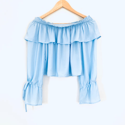 Super Down Light Blue Ruffle Off the Shoulder Blouse- Size XS