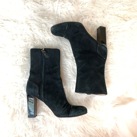 Kate Spade Black Suede Bootie with Block Heel- Size 6.5