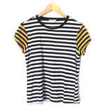 FRAME Striped Tee with Yellow Sleeves- Size XS