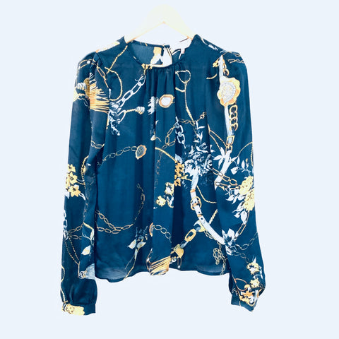 Leyden Blue/Gold Chain Print Blouse NWT- Size S