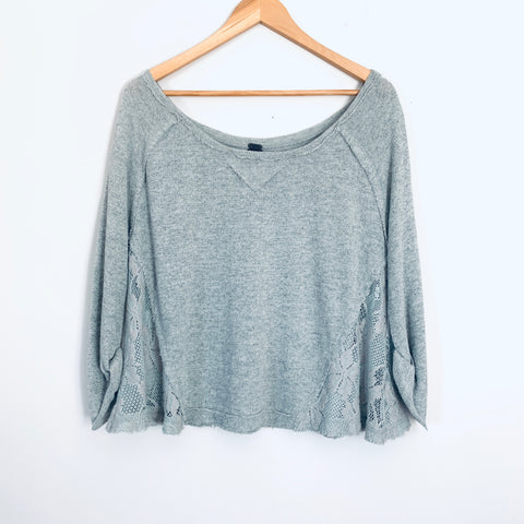 Free People We the Free Grey 3/4 Sleeve Sweater with Lace Sides- Size XS