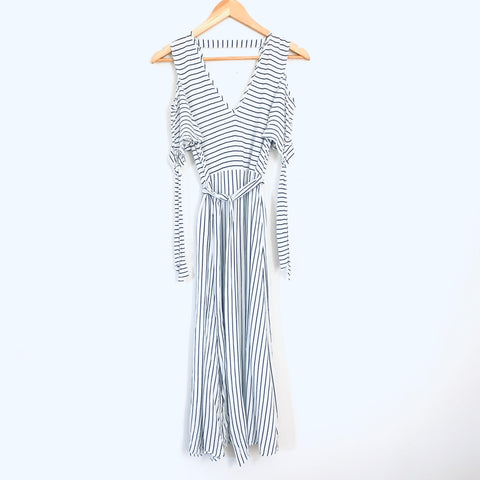Warehouse Striped Cold Shoulder Dress with Belt- Size S (no lining/see through)