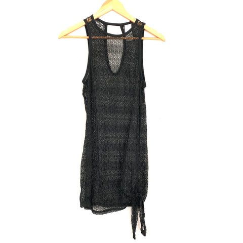 Time and Tru Black Knit Beach Cover Up- Size S