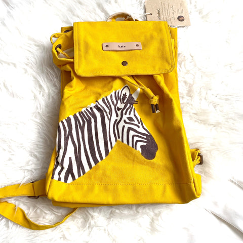 "Minted Canvas Snap ""Kate"" Personalized Zebra Backpack NWT (*see notes)"