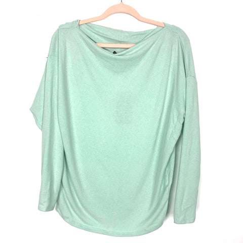 Gibson Look Mint Soft Fleece Dolman Sleeve Wide Neck Top NWT- Size XXS