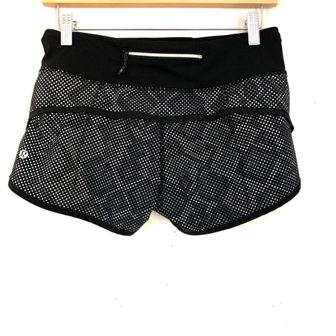 Lululemon Black with Subtle Snakeskin Print Speed Shorts- Size 4