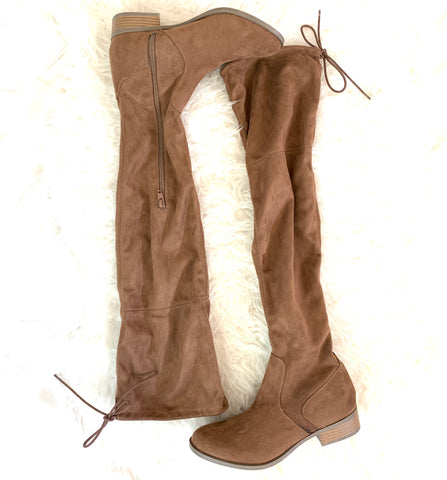 Arizona Jean Company Brown Flat Over the Knee Boots with Tie Back- Size 8.5 (Like New!)