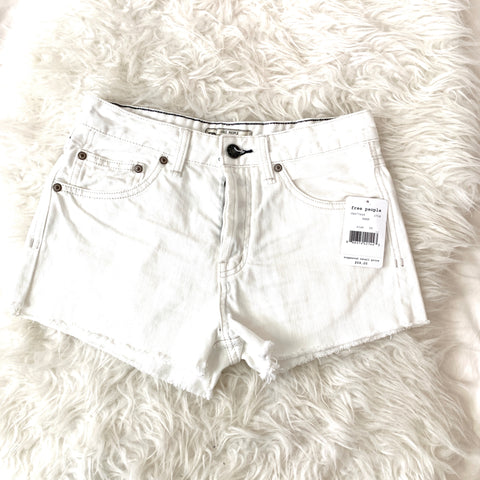 Free People White Swan Denim Cut Off Shorts NWT- Size 25