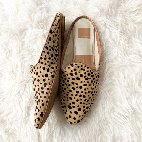 Dolce Vita Pointed Leopard Fur Mules- Size ~8.5 (see notes)