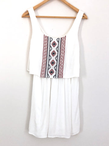 Way-In Embroidered Tank Dress- Size XS