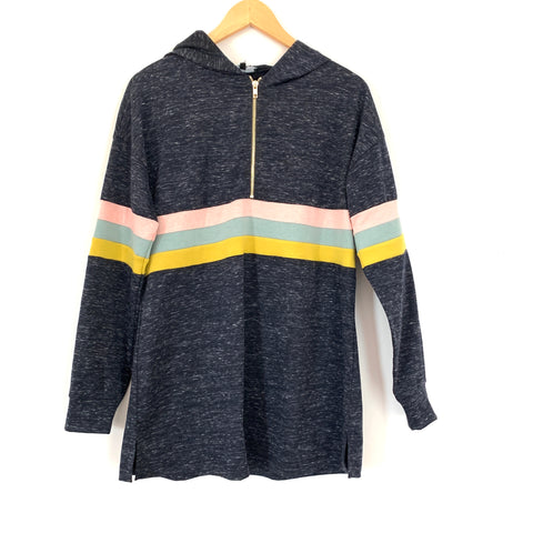 Roolee Striped Half Zip Hooded Pullover NWT- Size M
