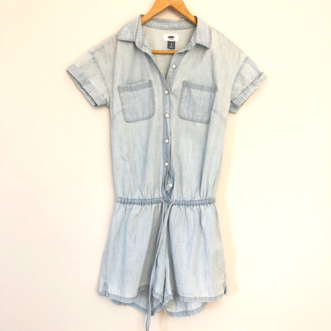 Old Navy Drawstring Waist Denim Romper- Size XS