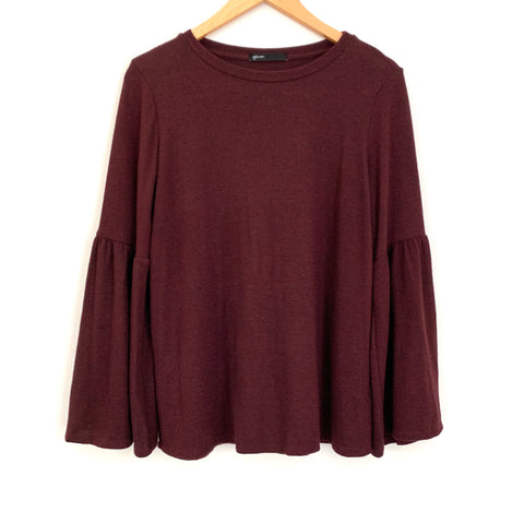 Gibson Wine Ruffle Sleeve Soft Sweater- Size XS
