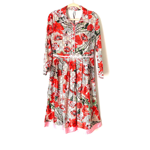 StyleWe Huang Jin Wu Red Floral Pearl Button Up Dress NWT- Size XL (fits like a L)