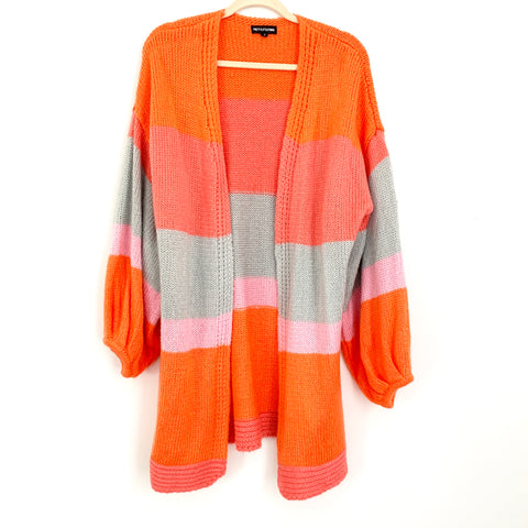 Pretty Little Thing Striped Orange, Pink and Grey Duster Cardigan - Size S