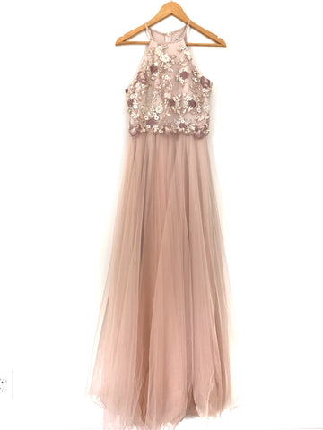 Minuet Blush Tulle Maxi Dress with Embroidered Bodice- Size M