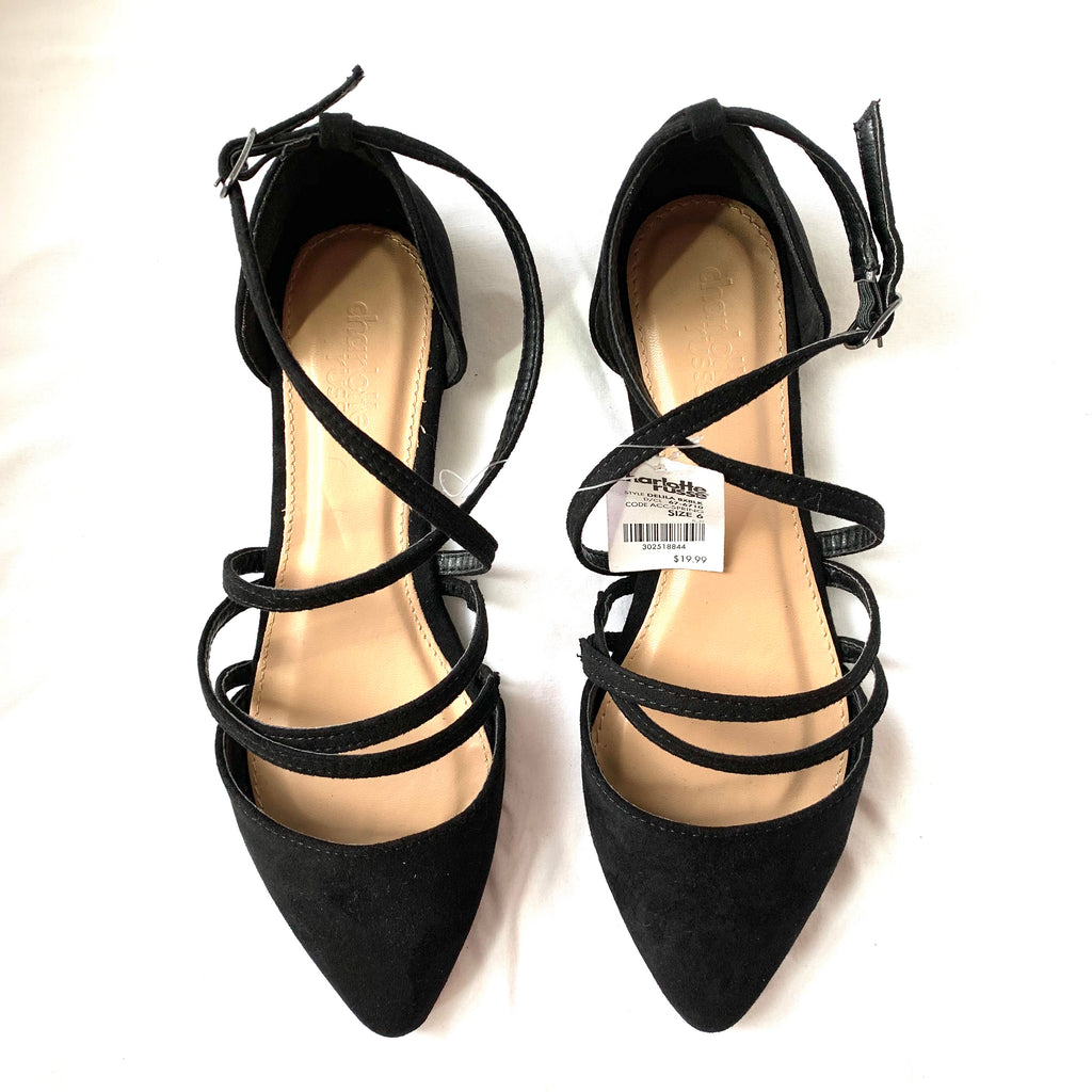 Charlotte Russe Black Strappy Flats NWT