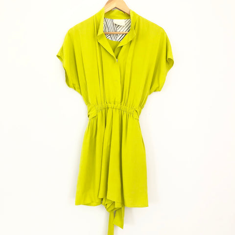 Maeve Neon Green Button Snap Romper- Size 2