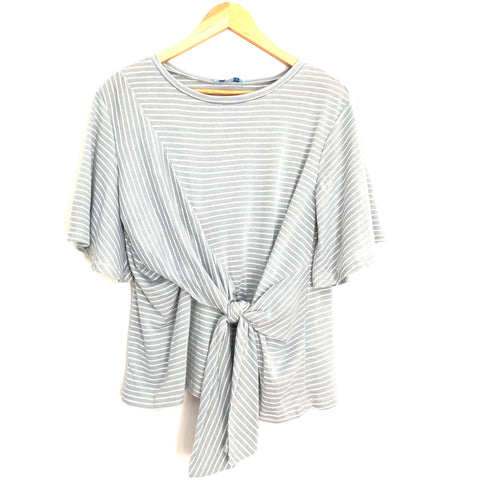 She & Sky Striped Front Knot Top- Size S