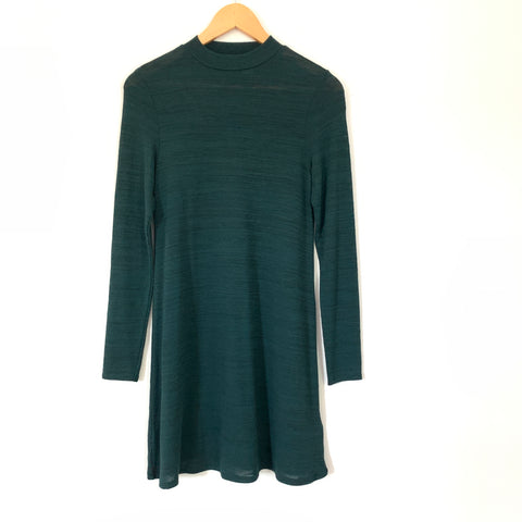 H&M Deep Green Heathered Mock Neck Dress- Size 2