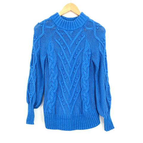 LOFT Blue Cable Knit Mock Neck Sweater- Size S