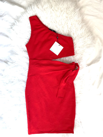 Missguided Red One Shoulder Cut Out Tie Mini Dress NWT- Size 2 (see notes)