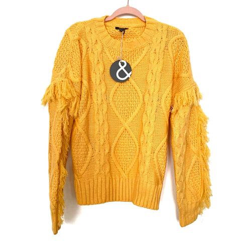 & Merci Mustard Yellow Cable Knit And Fringe Sleeve Sweater NWT- Size S