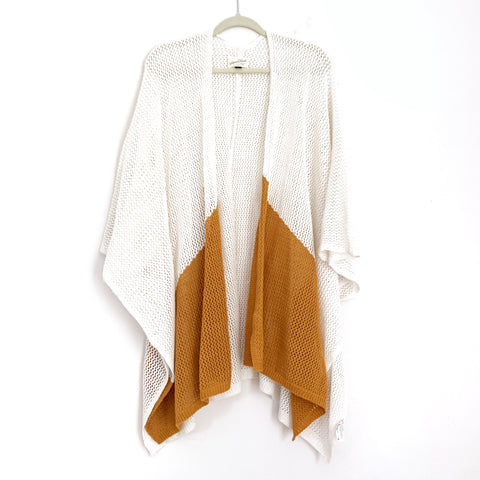 Universal Threads Open Weave Mustard & White Colorblock Kimono Style Sweater- Size OSFM