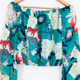 ASTR Off the Shoulder Green Floral Sheer Bell Sleeve Blouse- Size XS