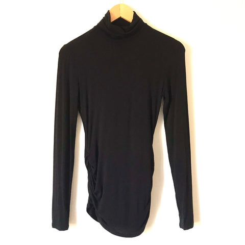 Justfab Black Long Sleeve Turtleneck with Ruched Sides- Size S