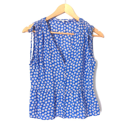 Madewell Daisy Blue Blouse Button Up Cinched Shoulder Tank- Size 0