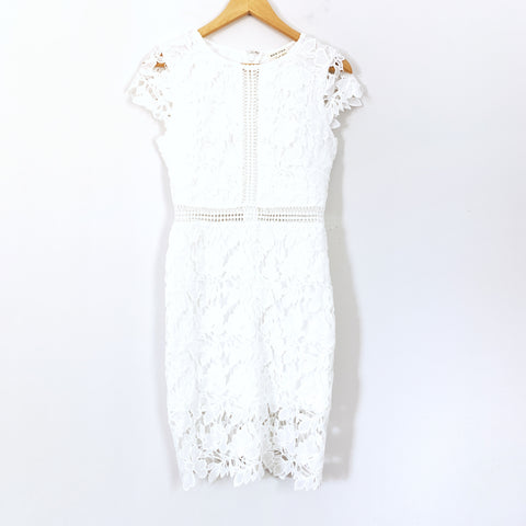 Main Strip White Lace Cap Sleeve Dress- Size S