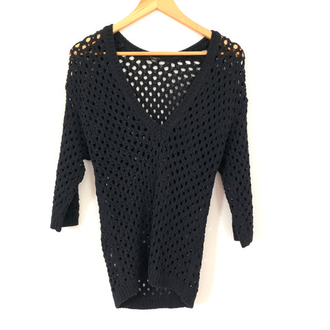 Ann Taylor Black Open Crochet 3/4 Sleeve Sweater- Size XSP