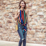 Tyche Rainbow Striped Halter Tie Front Blouse- Size S