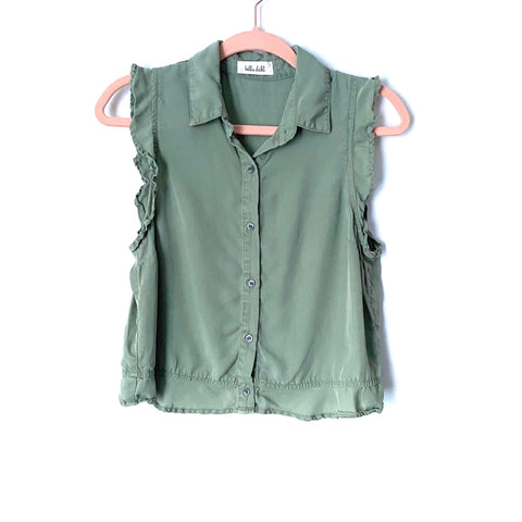 Bella Dahl Green Ruffle Sleeveless Button Up Tank Top- Size ~XS (Jana)