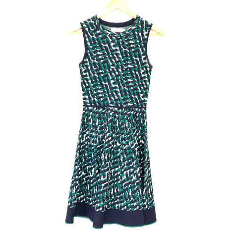 Eliza J Green & Navy Sleeveless Fit & Flare Dress- Size XS