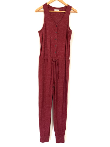 Madewell Heathered Cranberry Half Button Up Drawstring Jumpsuit- Size S