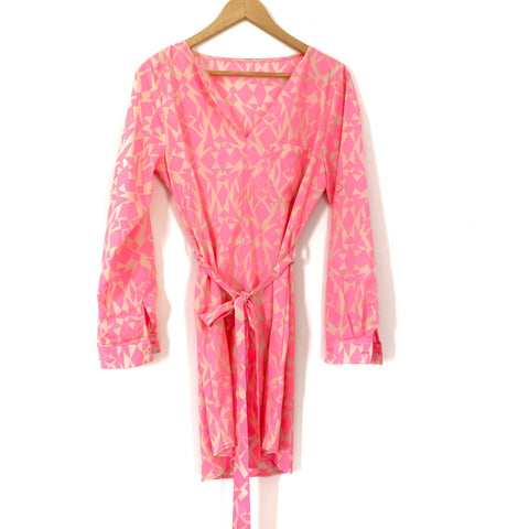 No Brand Neon Pink Print Shift Dress with Belt- Size ~S