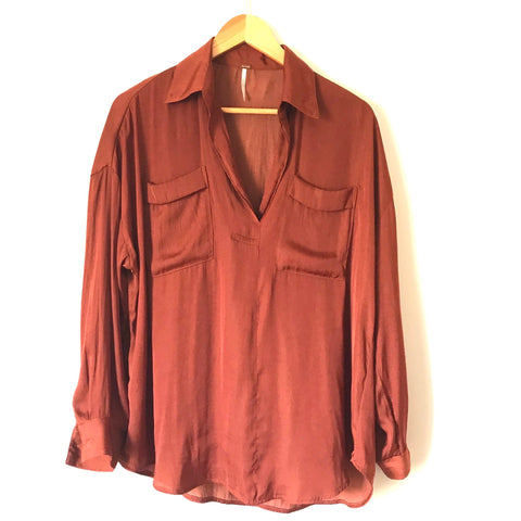 Free People Rust Long Sleeve Top- Size XS