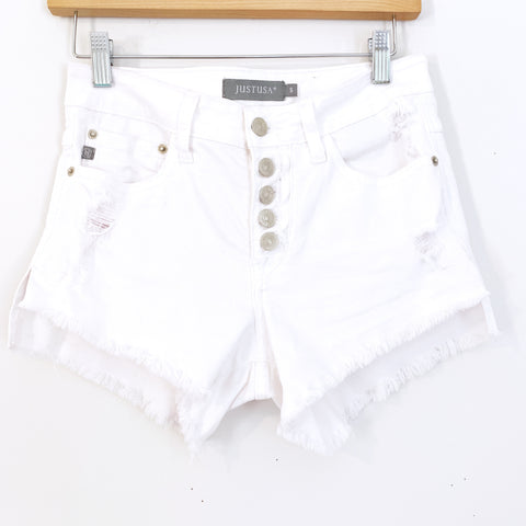 JustUSA White Distressed Button Up Denim Shorts- Size S (See notes!)