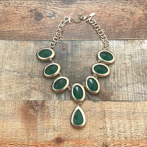 Eva Gold and Emerald Green Pendant Necklace