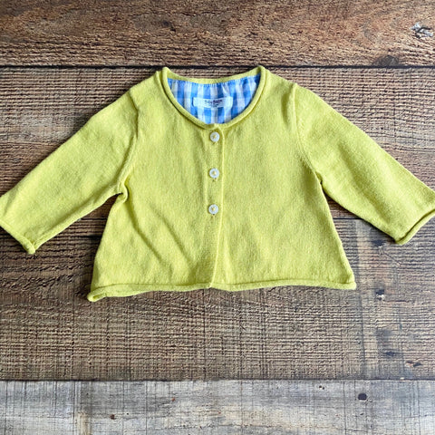 Baby Boden Lime Green Cardigan- Size 0-3M