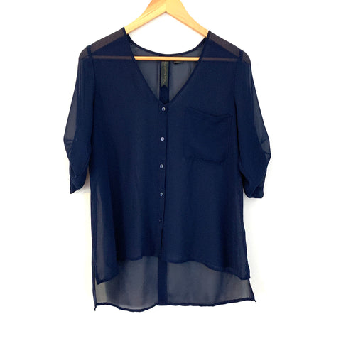 Petticoat Alley Navy Sheer Pocket Button Up- Size S