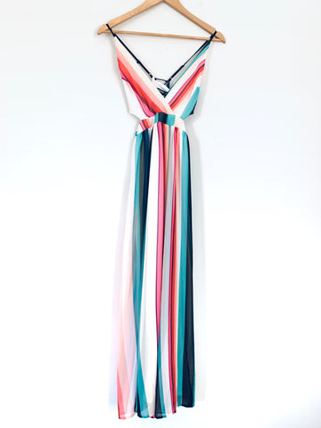 Express Striped Maxi Dress with Side Cutouts and Back Lace Details- Size XXS
