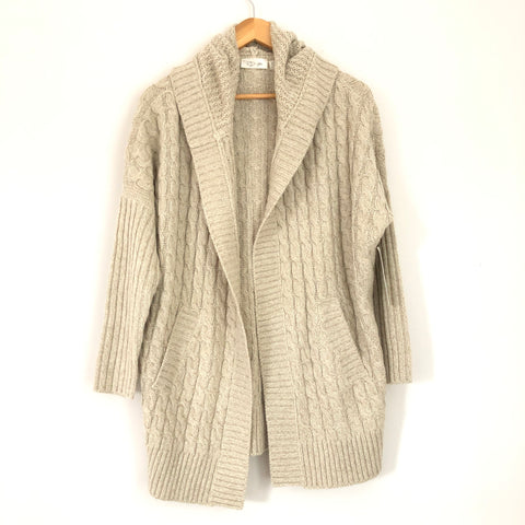 RD Style Tan Cable Knit Hooded Cardigan NWT- Size XS
